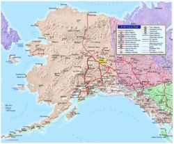 Yellow shows location of Delta Junction in the interior of Alaska